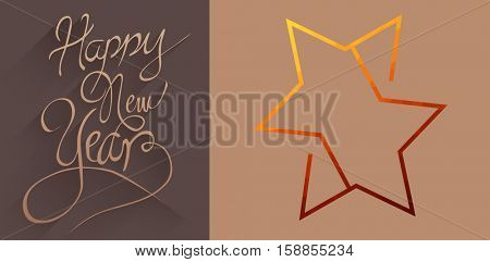 graphic star against classy new year greeting