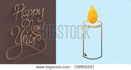 graphic candle against classy new year greeting