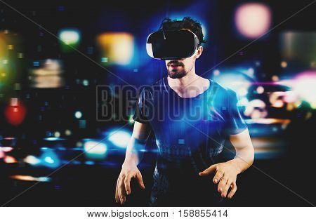 Man with 3D mask play with video game
