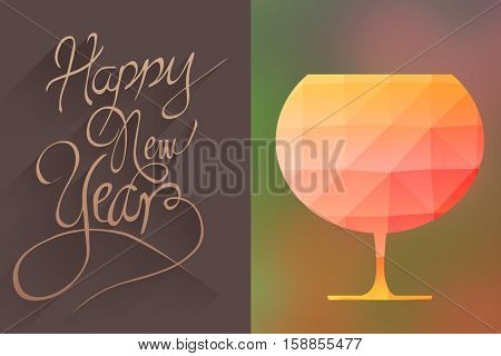 animated glass with mosaic against white background against classy new year greeting