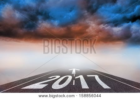 arrows against 3D cloudy landscape background with street