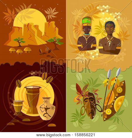 African set culture and traditions vector illustration