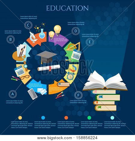 Education infographic diagram open book of knowledge back to school vector template