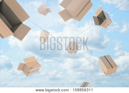 3d rendering of open empty light beige cardboard mail boxes falling from the blue cloudy sky. Postal services. Packing and crating. Storage of different products. Compartments for packages.