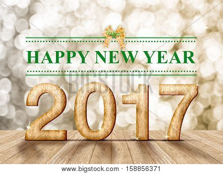 Happy new year 2017 wood number in perspective room with sparkling bokeh wall and wooden plank floorleave space for adding your content.3d rendering