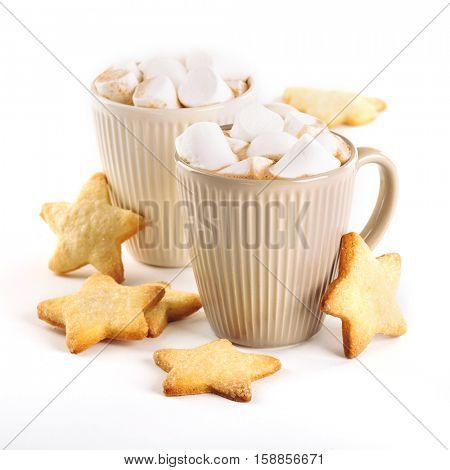 cup of hot cocoa with marshmallows and cookies on a white background