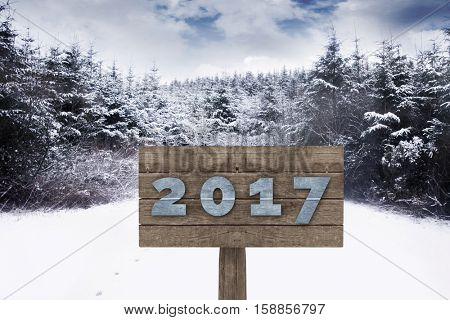 Digital image of new year 2017 against snow scene