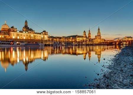 The famous skyline of Dresden in Germany at dawn