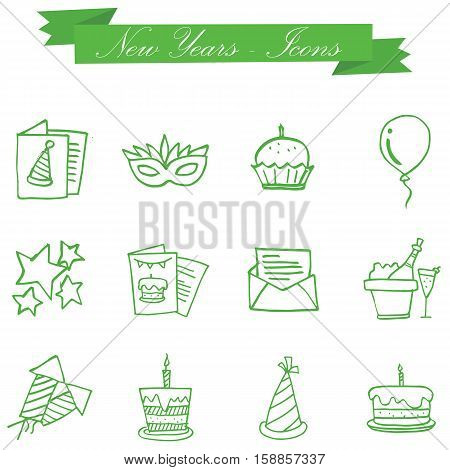 Illustration of new year element collection stock