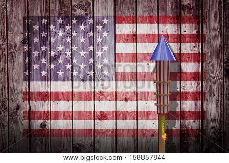 3D Rocket for fireworks against composite image of usa national flag