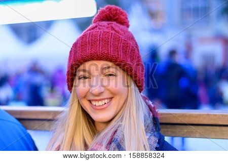 Happy Vivacious Woman At A Night Fairground