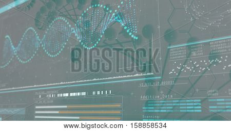 3D Helix diagram of DNA on black background