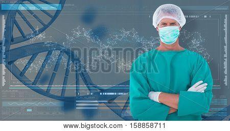 Portrait of confident male surgeon against 3D helix diagram of dna