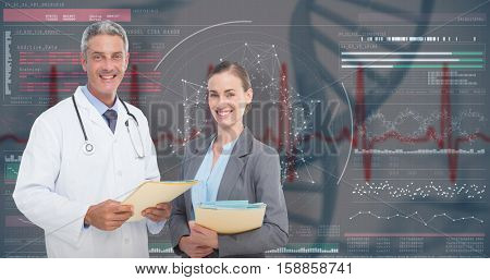 Portrait of male and female doctors with medical reports against 3D genes diagram on black background