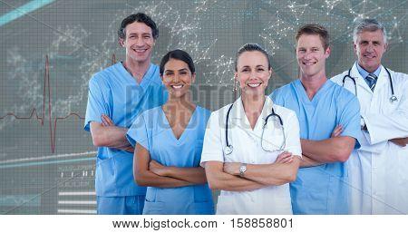 Portrait of confident doctors and surgeons against 3D genes diagram on dark background