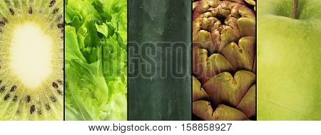 Collage of green fruits and vegetables . Healthy food for wellness concept