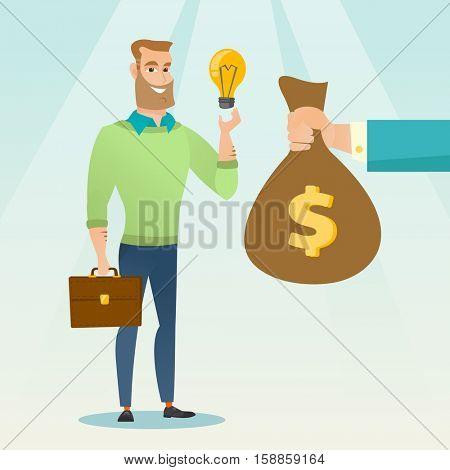 Successful businessman exchanging his business idea light bulb to money bag. Businessman selling his business idea. Concept of successful business idea. Vector flat design illustration. Square layout.