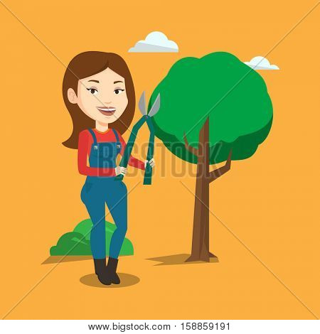 Caucasian gardener holding pruner. Female gardener is going to trim branches of a tree with pruner. Female gardener working in the garden with pruner. Vector flat design illustration. Square layout. poster