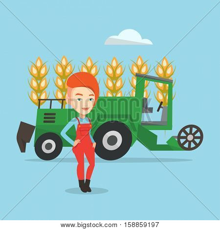 Female caucasian farmer standing on the background of combine harvester working in wheat field. Female farmer and combine harvester harvesting wheat. Vector flat design illustration. Square layout.