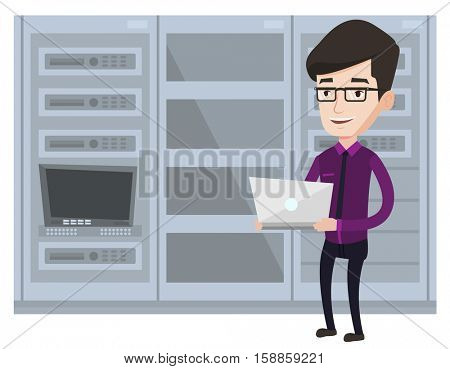 Engineer with laptop working in network server room. Engineer standing in network server room. Network engineer using laptop in server room.Vector flat design illustration isolated on white background