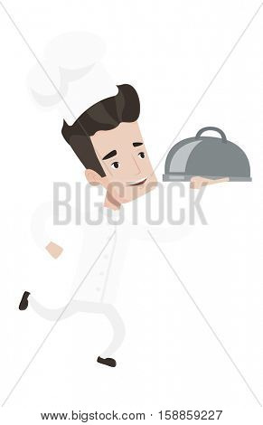 Caucasian chef in a cap and white uniform running. Young cheerful chef holding a cloche. Smiling chef fast running with a cloche. Vector flat design illustration isolated on white background.