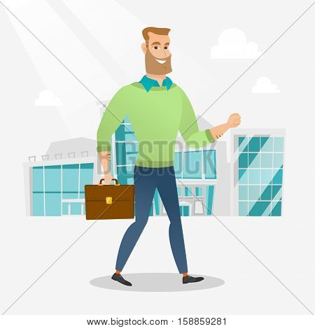 Successful businessman walking in the city street. Businessman walking down the street. Businessman walking to the success. Business success concept. Vector flat design illustration. Square layout.