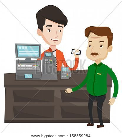 Caucasian man paying wireless with smartphone at the supermarket checkout. Customer making wireless payment for purchase with smartphone. Vector flat design illustration isolated on white background.