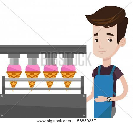 Caucasian worker of ice cream manufacture. Worker of factory producing ice-cream. Man working on automatic production line of ice cream. Vector flat design illustration isolated on white background.