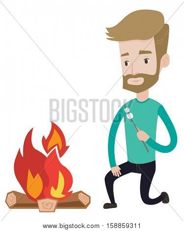 Young hipster man with the beard sitting near campfire. Caucasian man roasting marshmallow over campfire. Tourist relaxing near campfire. Vector flat design illustration isolated on white background.