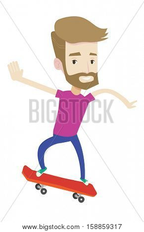 Hipster man with beard riding a skateboard. Caucasian man skateboarding. Young skater riding a skateboard. Man jumping with skateboard. Vector flat design illustration isolated on white background.