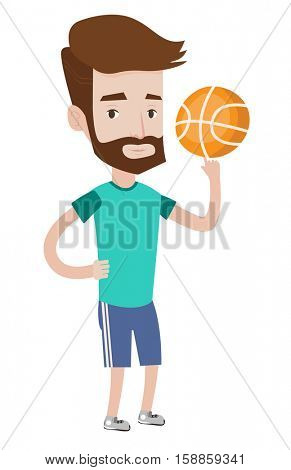 Hipster basketball player with beard spinning basketball ball on his finger. Caucasian basketball player training with basketball ball. Vector flat design illustration isolated on white background.