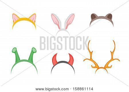 Cartoon Cute Headband with Ears Holiday Set. Flat Design Style. Christmas Mask Vector illustration