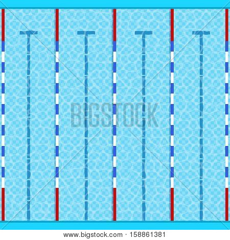 Swimming Pool Top View with Blue Water for Sports and Recreation. Vector illustration