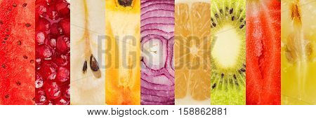 Collage of fruits and vegetables . Healthy food for wellness concept