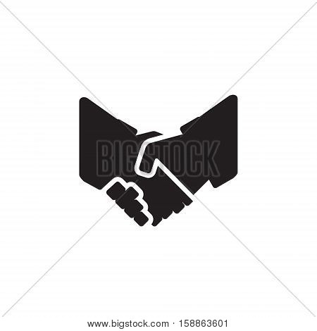 Vector icon or illustration showing deal with two hands shake each other in black color style on white background