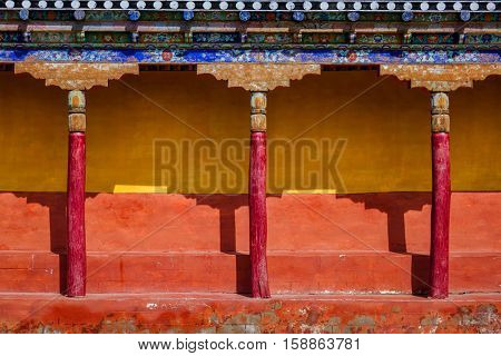 Architecture In Thiksey gompa (Tibetan Buddhist monastery). Ladakh, India