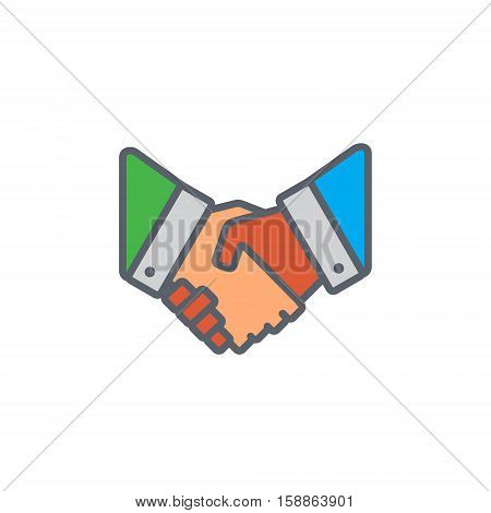 Vector icon or illustration showing deal with two hands shake each other in outline style