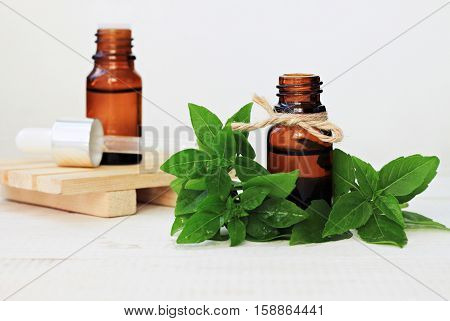Set of glass bottles herbal tincture, essenatial oil, fresh green basil leaves. Medicinal plant health and beauty treatment benefits. Whole Food Skincare.