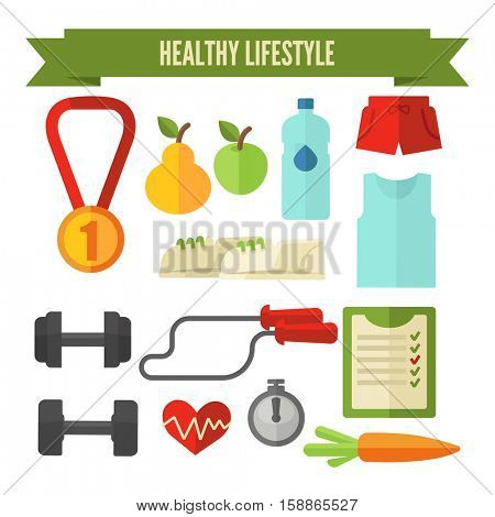Healthy lifestyle icon collection. Vector wellness concept flat Illustration.