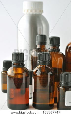 Brown glass bottles for essential oils, cosmetics, medical or laboratory liquids