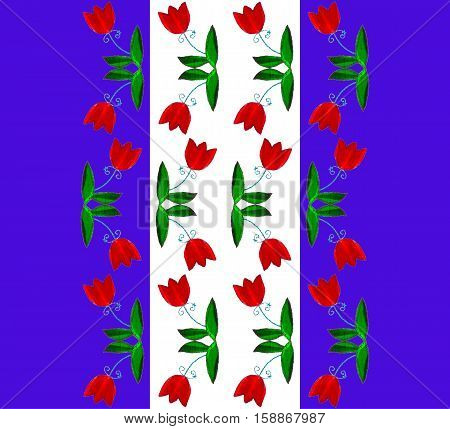 Seamless pattern with red tulip flowers on blue and white background.