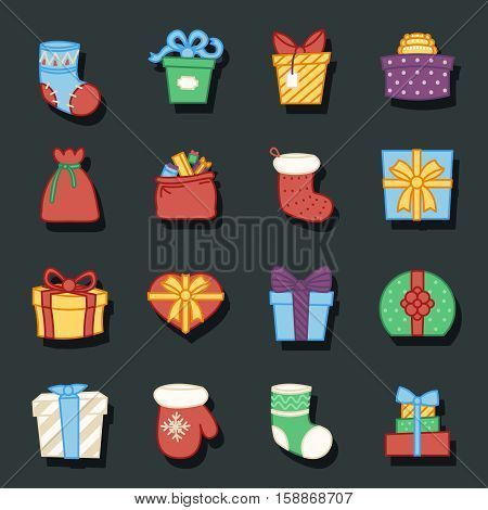gifts boxes bags socks lineart cartoon design vector illustration