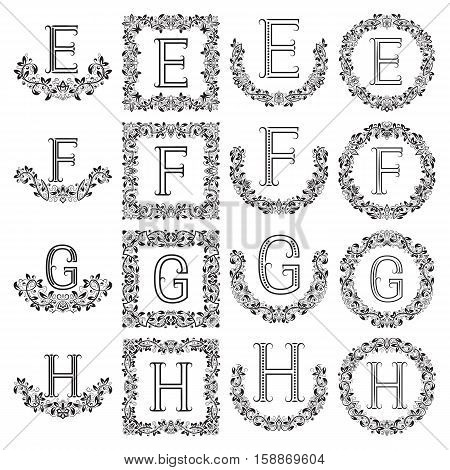 Patterned monograms set of letters E F G H. Heraldic symbols in wreaths floral square and round frames.