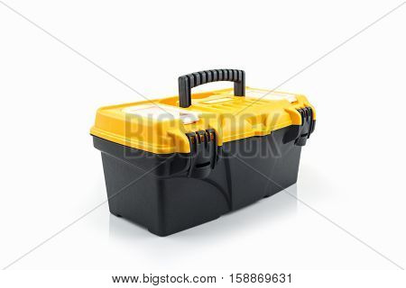 Yellow tool box Plastic tool box on white background.