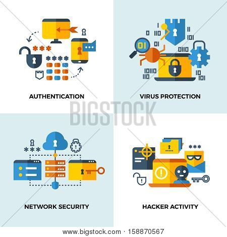 Internet security, cloud technology services data protection vector concepts set. Authentication and virus protection, network security and hacker activity illustration
