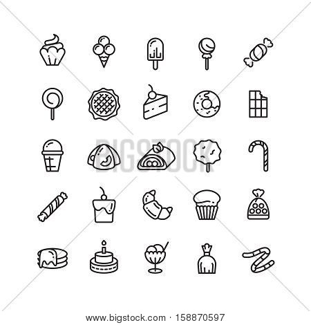 Desserts, sweets, ice cream, muffin, cakes, cupcake thin line icons. Set of desserts croissant candy and snack bakery illustration