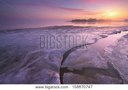 Icy morning. inter nature composition. Composition of nature.