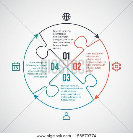 Business infographic vector template with line icons, puzzle elements for 4 options, parts, steps, processes. Linear puzzle infographic, puzzle connected plan illustration