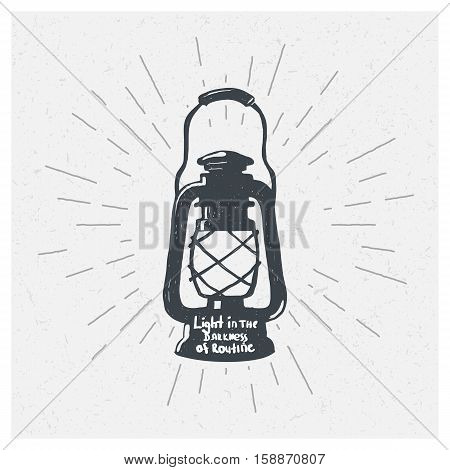 Hand-drawn vintage kerosene lamp. Sketch oil lamp. Vector illustration. Lantern.