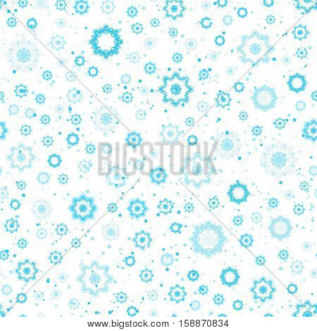 Snowflakes seamless pattern blue and white colors. Winter background vector illustration. Christmas abstract background. Light blue pattern with different snowflake shapes.